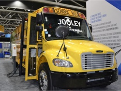 Electric bus and charging system manufacturer Proterra has launched Proterra Powered vehicle electrification solutions to help commercial vehicle manufacturers electrify their heavy-duty vehicles. Shown here is Thomas Built Buses' Saf-T-Liner C2 Jouley, powered by Proterra.