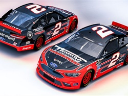 In honor of its 100th anniversary, Thomas Built Buses will sponsor Brad Keselowski as he drives the No. 2 Thomas Built Buses Ford Fusion in the Toyota Owners 400. Shown here is a rendering of the Thomas Built race car.