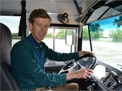 SBF Editor Thomas McMahon loves driving a school bus — in an empty parking lot with no kids on board.