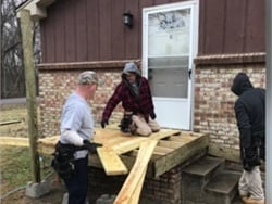 Thomas Mitchell, a vehicle mechanic and substitute bus driver, rallied community members and built a wheelchair ramp at a student's home. Screenshot via Clarksville-Montgomery County School System video.