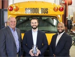 Leonard Bus Sales won Trans Tech's Dealer of the Year award. Shown here from left are Trans Tech President John Phraner, Leonard Bus Sales Vice President Jon Leonard, and Trans Tech National Sales Manager Erickson Lopez.