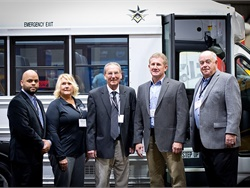 Southern Bus & Mobility will be Trans Tech's exclusive dealer of its Type A school buses in Illinois and Missouri. Shown here are sales representatives for Southern Bus & Mobility and Erickson Lopez, national sales manager for Trans Tech, left; and John Phraner, president of Trans Tech, right.