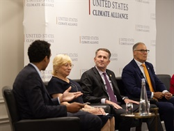 Gov. Ralph Northam (third from left) announced Virginia's third round of VW funding during a Climate Week NYC event hosted by the U.S. Climate Alliance. Photo courtesy Office of Gov. Northam