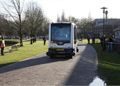 Self-driving electric bus begins testing on public roads