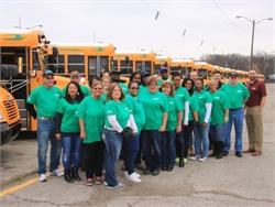 Twenty Wayne Township school bus drivers brought their old diesel buses to MacAllister Transportation and picked up new Blue Bird propane models.