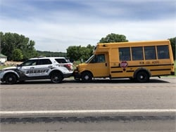 A Minnesota deputy and firefighter stopped a school bus after the bus driver reportedly suffered a medical emergency that caused him to drive on the wrong side of the highway. Photo courtesy Yellow Medicine County Sheriff's Office.