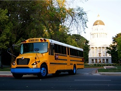Twenty-nine new electric school buses, from Lion Bus and Trans Tech, are being provided in part by a grant from the California Air Resources Board, to serve students in the Sacramento area. Shown here is an eLion electric bus.