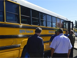 Lion Bus and Adomani hosted an event in Phoenix, Arizona, on Jan. 31 to share information about the eLion and funding opportunities. Local school transportation directors also got to see the bus up close.