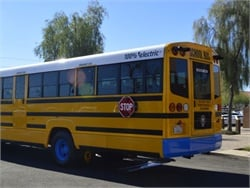A California program is offering $10 million for purchasing school buses powered by electricity (pictured), renewable diesel, natural gas, or propane.