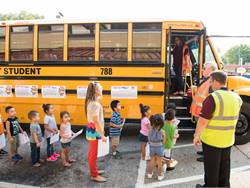 First Student teamed up with the National Safety Council for the Safety Dog Bus Tour in late August, which informed kids and their parents about school bus safety.