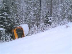 Police said that after this small bus went off an embankment, it rolled twice and then came to rest against trees about 50 feet from the road. Photo from Oregon State Police