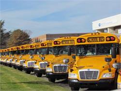To replace Atlantic Express buses destroyed by Hurricane Sandy, Blue Bird expedited an initial order of 100 Visions. The new buses are seen here at Bird Bus Sales.