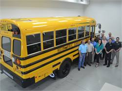 Boston Public Schools' new Blue Bird propane buses have a shorter 169-inch wheelbase and a 50-gallon tank to accommodate shorter runs.