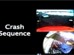 Footage from an onboard recorder shows a school bus turning into the path of an oncoming car. The bus driver was charged with homicide by vehicle in the crash, which killed the passenger of the car and injured others.