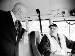 David Duke (left), CEO of National Express Corp., was SCHOOL BUS FLEET's 2013 Contractor of the Year.