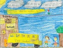 Contest winner Lejla Husetovic created artwork that shows a First Student bus outside of her school with her classmates.