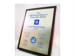 For the second year in a row, Espar received the GM Supplier Quality Excellence award, shown here.