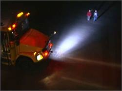 Gardian Angel uses a white flood light mounted on the bus' front bumper to illuminate the path for students to cross the street.
