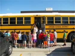 Elementary school students at Jordan School District in Utah received bus safety training last week. Shown here are Welby Elementary School students in a training session.