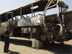 In the fatal 2014 truck-motorcoach collision in Orland, California, NTSB found that there were difficulties in evacuating from the flame-engulfed motorcoach. Photo by NTSB