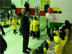 U.S. Secretary of Transportation Anthony Foxx spoke to elementary schoolchildren about being respectful to their bus drivers at Friday's main Love the Bus event at Oak Hill Elementary School in High Point, N.C.