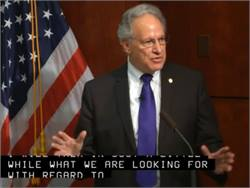 NHTSA Administrator Mark Rosekind introduces the agency's meeting on school bus seat belts. The event was available to watch via webcast, as seen here.