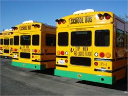 Napa Valley (Calif.) Unified School District has put black vinyl tape over the green rub rails of its wheelchair-equipped hybrid buses so that it can operate them. The California Highway Patrol has said that the green rails are not in compliance with state and national standards. The green bumpers, however, are permitted.