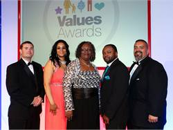 Shown here are some of the National Express Values Award winners. From left to right: Mike Hamel, Angela Stone, Stevette Wilson, DeShawn Lomax and George Rodriguez.
