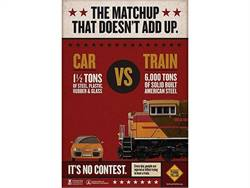 """Operation Lifesaver and the Federal Highway Administration have awarded over $200,000 in grants for rail crossing safety public education projects. Shown here is a poster from Operation Lifesaver's """"See Tracks? Think Train!"""" campaign."""