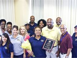 Pearlie Able was named the 2015 South Carolina School Bus Driver of the Year by the South Carolina Association for Pupil Transportation. Able, center, is shown here with fellow bus drivers from Rock Hill Schools.