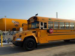 ABC Student Transportation will start transporting Detroit Public Schools students on 35 Blue Bird Vision propane buses this school year. To fuel the buses, ABC installed a station with a 12,000-gallon propane tank, shown here, near its facility.