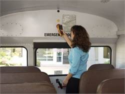 With Zonar's EVIR system, drivers scan a tag at the back of the bus as part of their vehicle inspection.