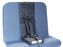 When not in use, the seat in HSM's five-point restraint system converts to a carrying case with an adjustable strap that creates a handle or shoulder strap for easy transport and storage.