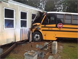 Thirty-two students were on the bus at the time of the crash and two suffered minor injuries. The bus driver is facing a charge for running a stop sign during the accident. Photo by Darlington County Sheriff's Office.