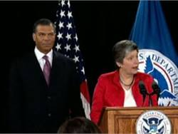 In a news conference on Monday, Department of Homeland Security Secretary Janet Napolitano discussed the nomination of Robert Harding to be head of the Transportation Security Administration.