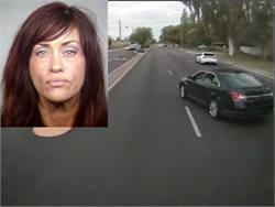 Police arrested Renee Scozzari (inset) in connection with a hit-and-run with a school bus. The roadway image was captured from the windshield of the bus moments before the black car collided with it.