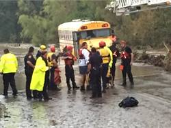 Four special-needs students and two adults were rescued from a flooded bus during a storm in Texas last week. Photo from Bexar County Sheriff's Office Twitter page.