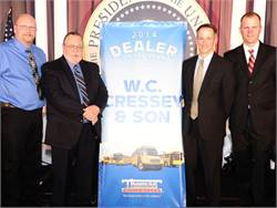 W.C. Cressey & Son was named Thomas Built Buses' 2014 Dealer of the Year. Pictured from left are Kevin Nichols, Marc Hopkins and Brian Cressey of W.C. Cressey and Caley Edgerly of Thomas Built.