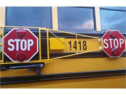 Kanawha County Schools is testing an electric-powered extended stop arm that may become a more consistent upgrade to the current air-powered version it uses on 10 of its buses.