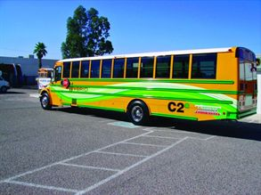 Thomas Built Buses' Saf-T-Liner C2e hybrid school bus was available to test drive at Auto Safety House for a day in August.