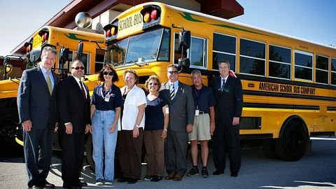 Cook-Illinois Corp.'s school bus purchase this year was all propane (pictured) and gasoline...