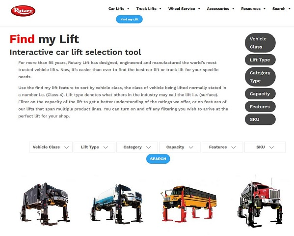 Digital Vehicle Lift Search Tool