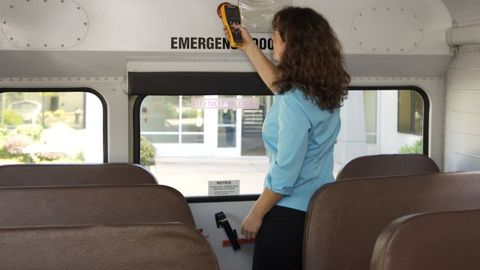 With Zonar's EVIR system, drivers scan a tag at the back of the bus as part of their vehicle...