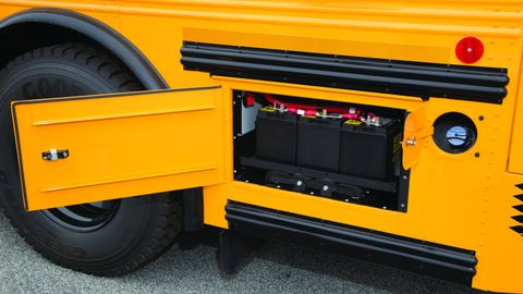 Pictured is the DEF fill point on a Thomas Built Saf-T-Liner HDX school bus.Photo courtesy of...