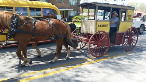 """Kickert's first """"school bus"""" was a horse-drawn wagon fitted with board seats, as seen here in a..."""