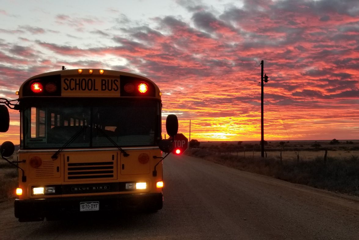 Tina Pearson, Swink (Co.) School District's transportation director, captured the pink and...