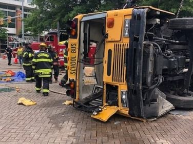 The Virginia Association for Pupil Transportation showcased a mock school bus accident during...