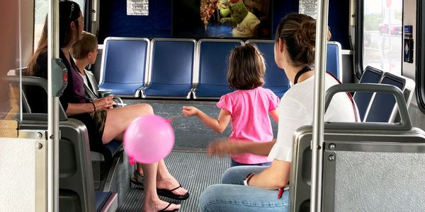 Visitors watch a safety video inside SEPTA's Safety Education Bus. Photo: SEPTA