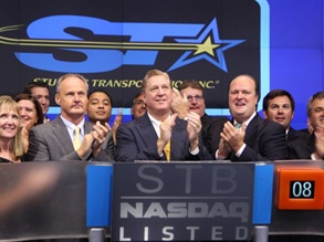 Student Transportation Inc. entered the U.S. stock market on Tuesday. CEO and Chairman Denis Gallagher (front-center) rang the bell in NASDAQ's opening ceremony.