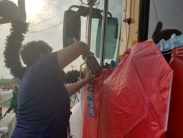Seven school bus drivers and monitors worked for about three weeks to decorate the bus. They...